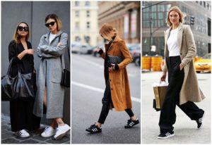что надеть с кроссовками и пальто