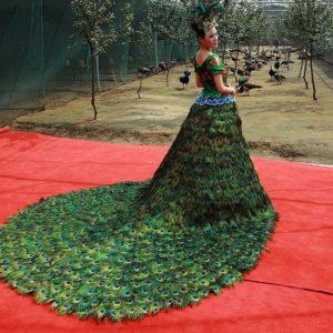 платье из перьев павлина с нефритами