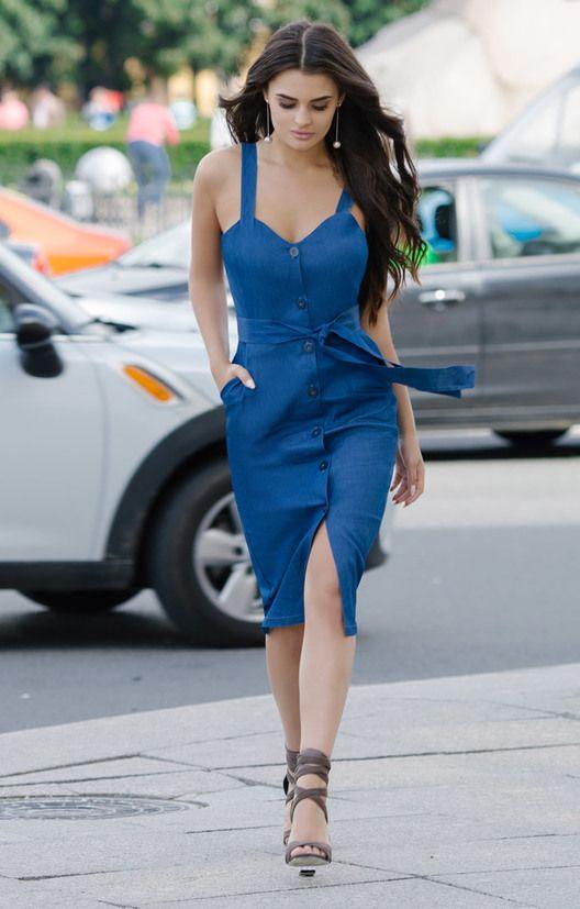 Платье сарафан синий