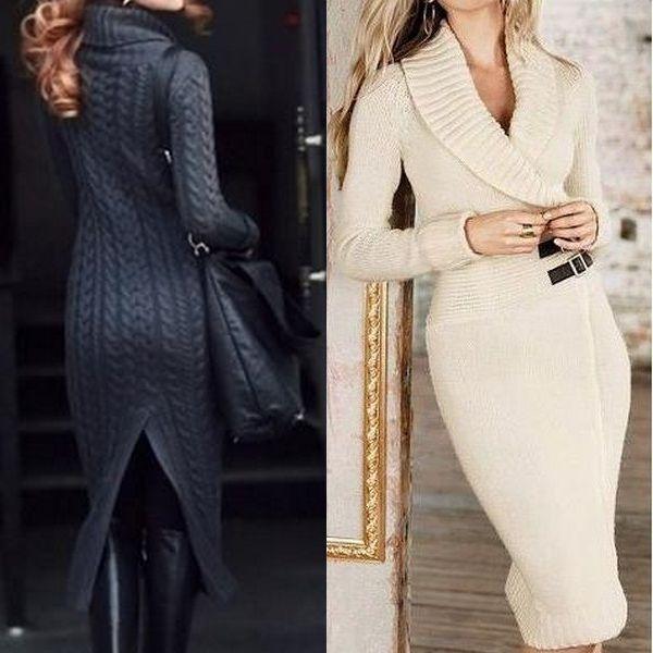 Вязаные роскошные прямые платья