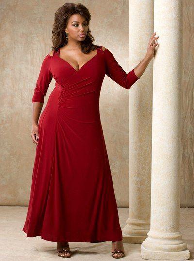 Бордовое платье из трикотажа для полных