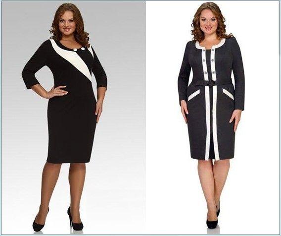 Вертикальный принт на платье для полных женщин