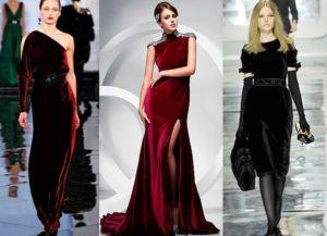 разновидности платьев из бархата