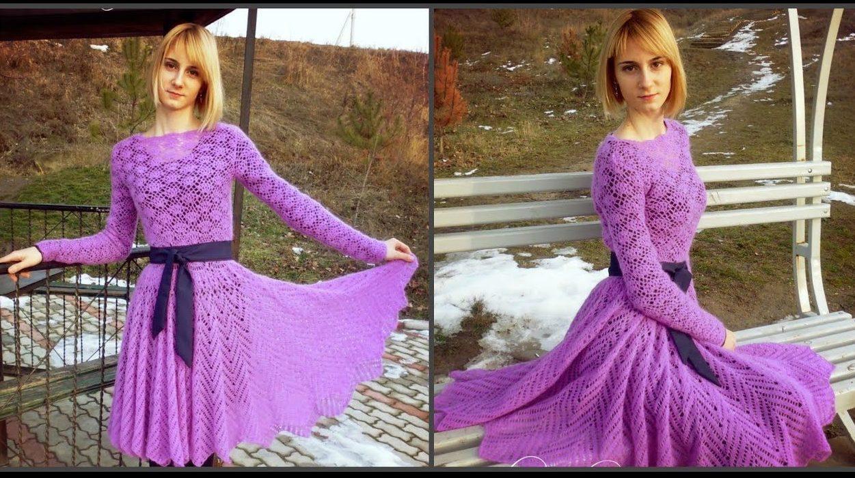 Сиреневое платье из мохера