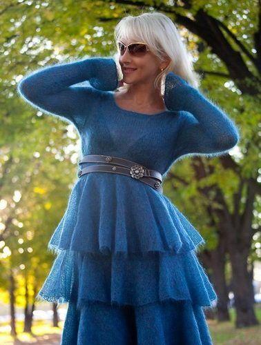 Синее платье из мохера