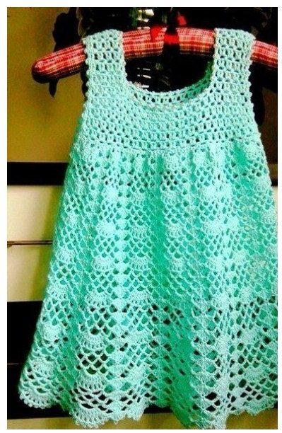 простое ажурное платье для девочки