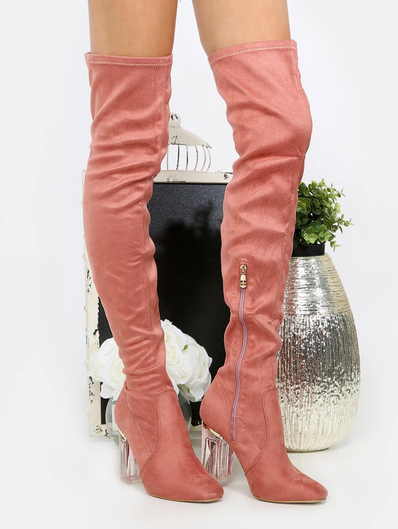 розовые сапоги ботфорты