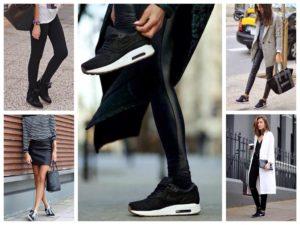 с чем носить женские чёрные кроссовки