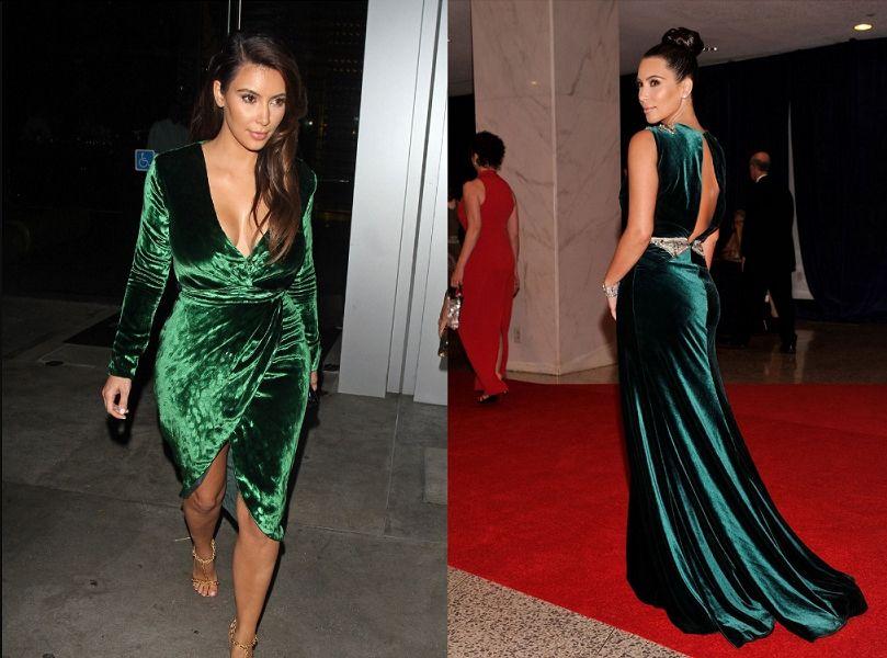 зелёное и изумрудное бархатное платье