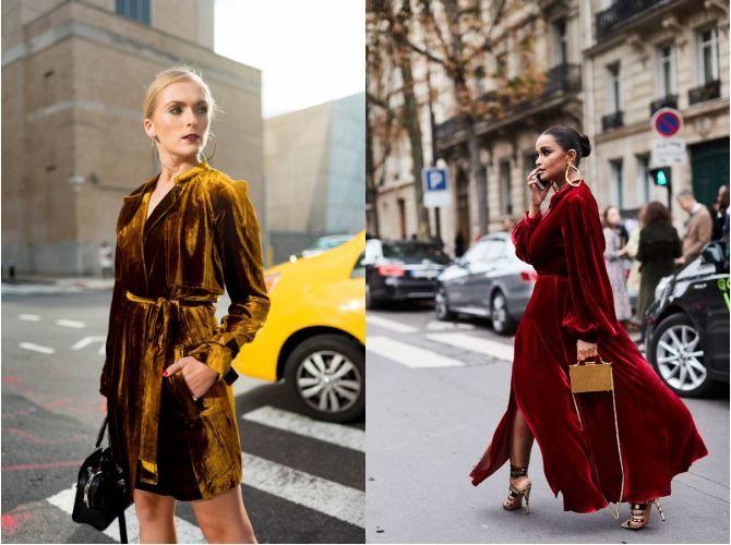 золотое и красное бархатное платье