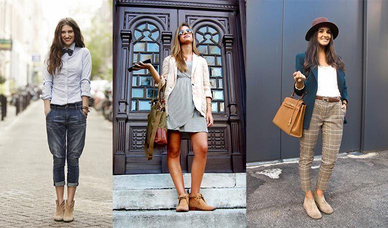 Девушка с чем носить ботинки чукка?
