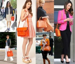 с апельсиновой сумкой