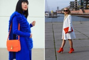 яркая одежда с оранжевой сумкой