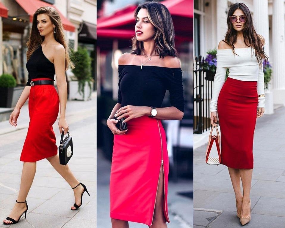 Разнообразные модели красных юбок