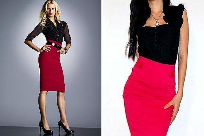 Красная юбка с завышенной талией