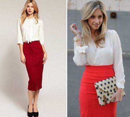 Красная юбка трикотажные