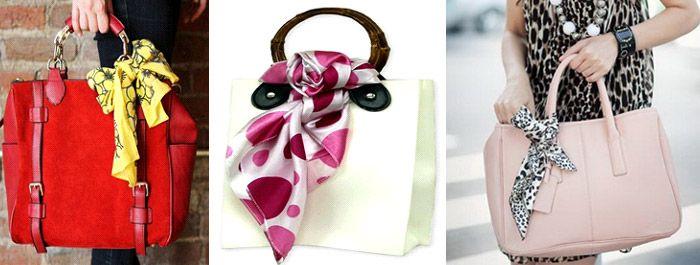 На сумке шарф бантом
