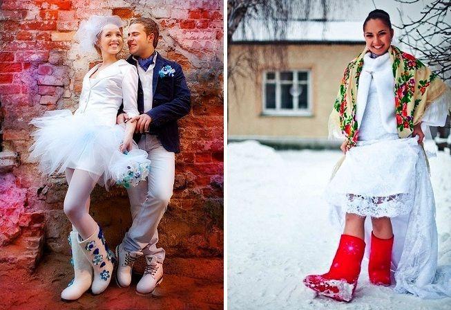 Валенки со свадебным нарядом