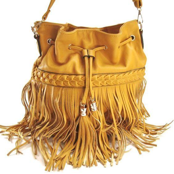 Желтая сумка из кожзама