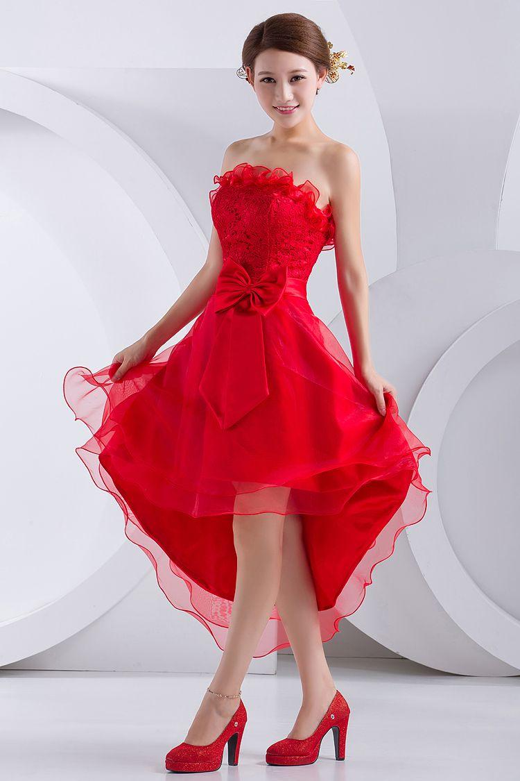 Бант на красном свадебном платье
