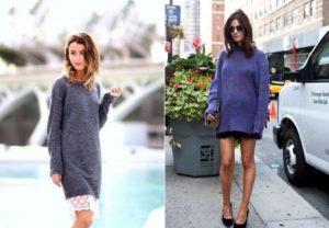 сочетание свитера с платьем
