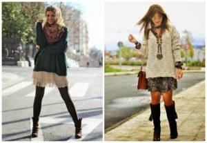 образы - свитер с платьем