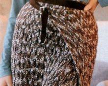 вязаная юбка с запахом спицами