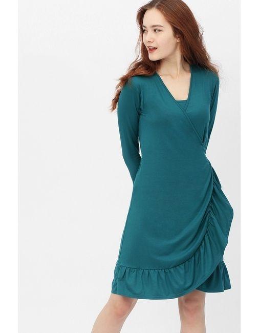 теплое платье с запахом для беременной