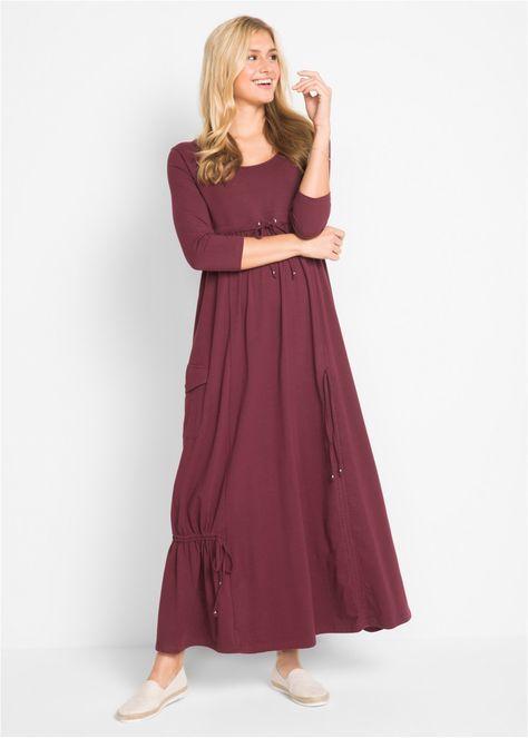 бордовое платье макси трикотажное