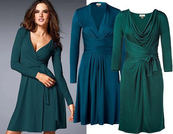 Сине-зеленые трикотажные платья