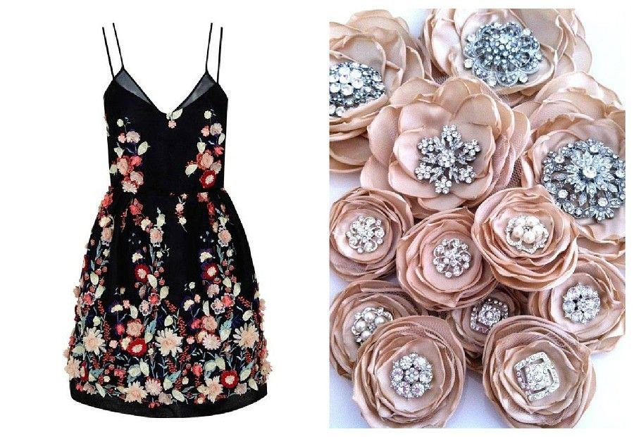 Черное платье украшаем цветами из ткани
