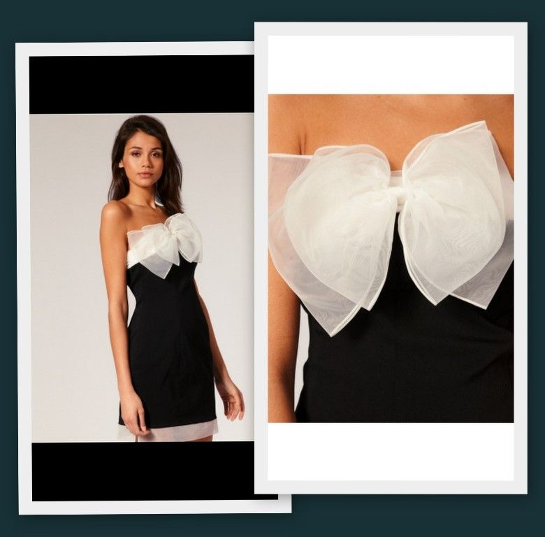 Черное платье с белым бантом