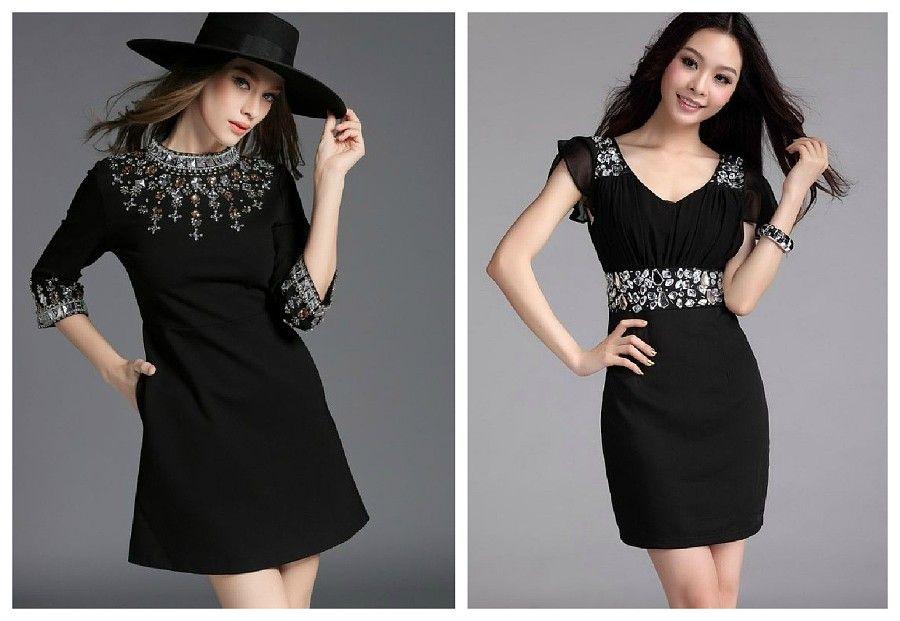 Черное платье с камнями и стразами