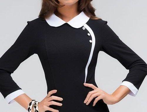 Черное платье с воротником и манжетами