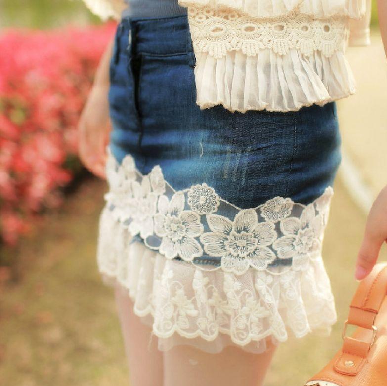 Кружева сверху юбки