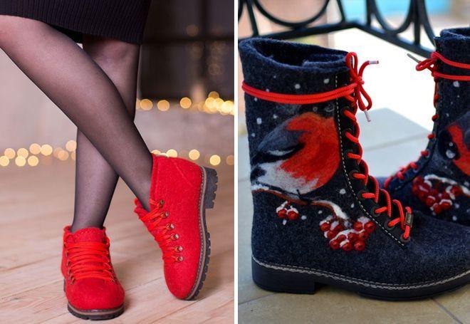 Модные ботинки валенки