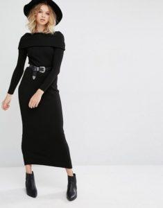 с чем носить черное платье зимнее