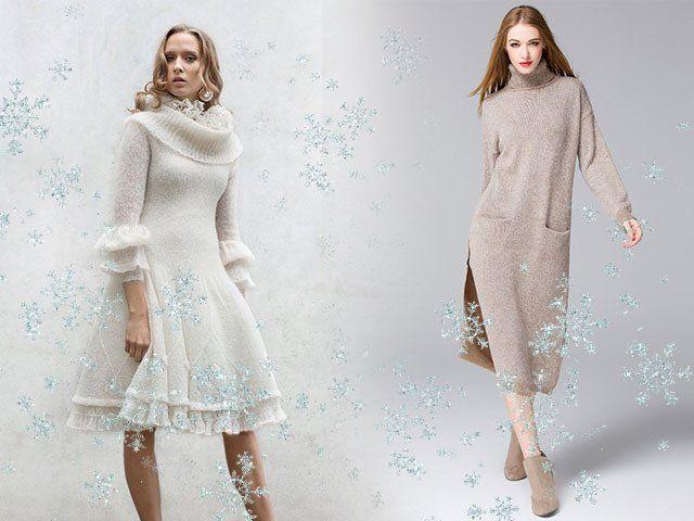 Светлые вязаные платья