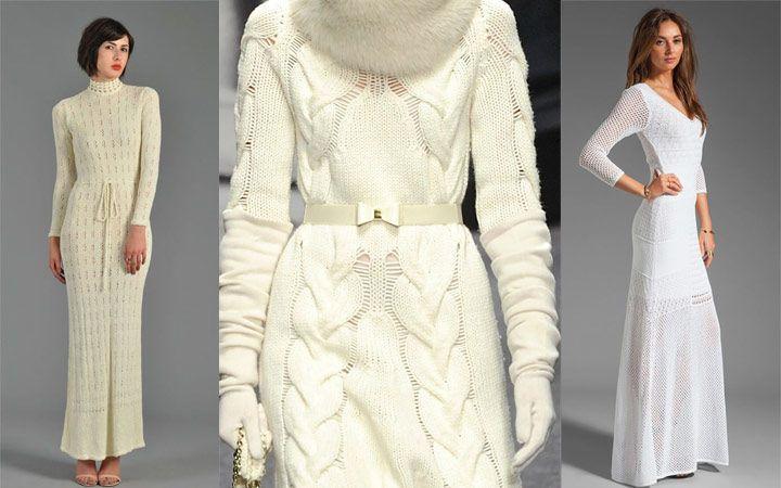 Белые вязаные платья