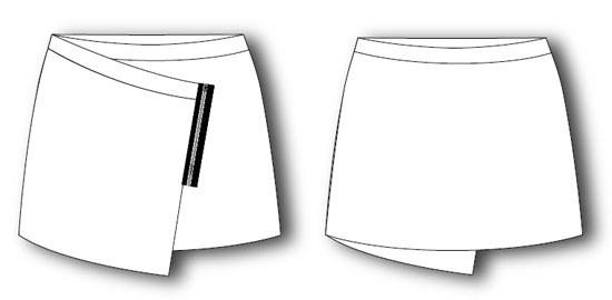 выкройка короткой юбки с запахом