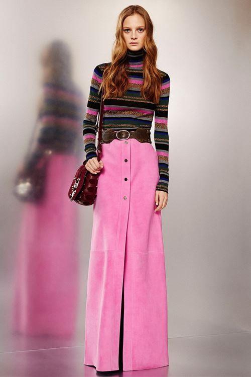 Розовая длинная джинсовая юбка