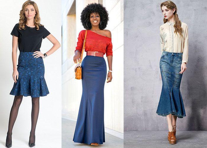 Синие юбки годе разной длины