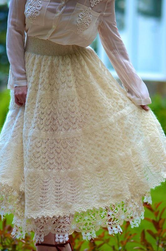 Белая ажурная юбка из мохера