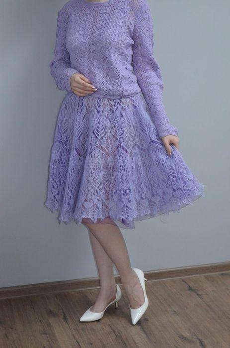 Сиреневая юбка из мохера