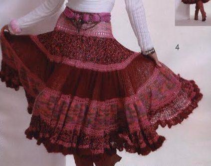 Бордовая юбка из мохера