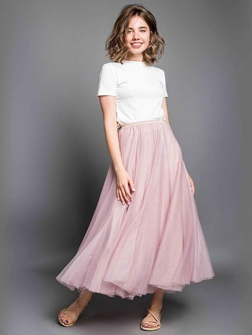 Нежно-розовая юбка длинная