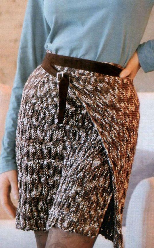 Меланжевая юбка резинкой спицами