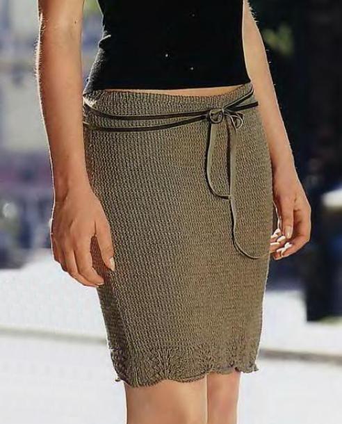 Коричневая юбка с поясом
