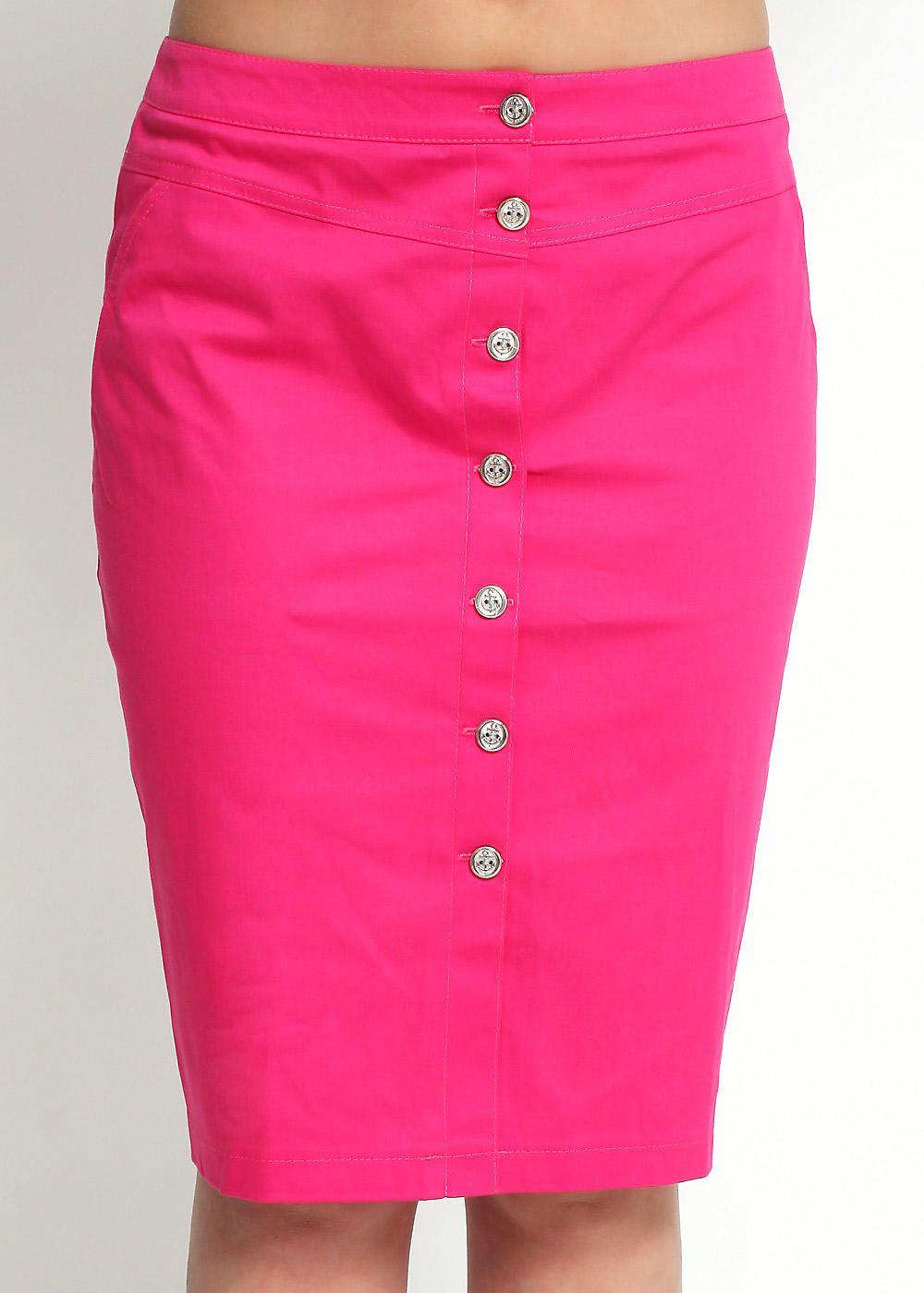 Розовая юбка с пуговицами