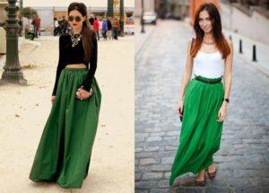 что одеть с зеленой юбкой в пол